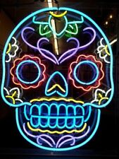 Colorful Skull  Neon Sign Light Beer Bar Pub Wall Display Decor Neon Sign