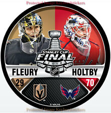 VEGAS GOLDEN KNIGHTS CAPITALS 2018 STANLEY CUP FINAL FLEURY HOLTBY DUELING PUCK