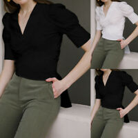 Size Womens Club Wrap V Neck Long Sleeve T Shirt Ladies OL Casual Blouse Tops UK
