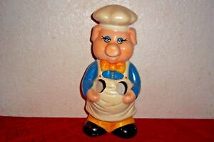 "Ceramic Pig with Chefs Hat and Apron Collectible 11"" inch"