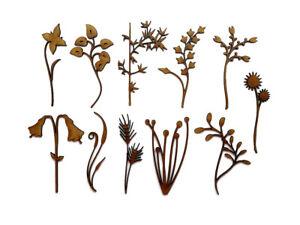 Wooden MDF Floral Flower Branch craft shape laser cut embellishment SET OF 11