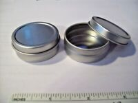 """4 Small Silver Gift Tin Tins Favor Box holds .25 oz & is 1.25"""" Diameter"""