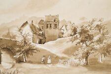 Dessin original au lavis XIX° Vieux Pont 2 Personnages Maisons Normandie (?)