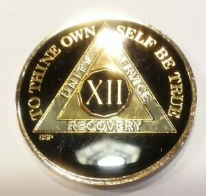 """12 Year AA Coin Black, Gold, Silver 1⅜"""" Traditional Size Recovery Chip XII"""