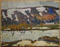 Russian Ukrainian Soviet Oil Painting Impressionism landscape river winter