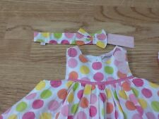 Brand New Baby Girls Size 0-3 Months Spotted Summer Dress, Knickers & Headband