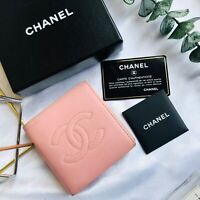 Chanel Wallet Caviar Leather Pink Bifold Purse Authentic Vintage CW135