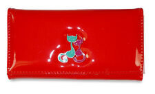 Red Cat Kitty Trifold Tri Fold Checkbook Wallet Clutch Long Vinyl Snap
