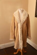 Marvin Richards Leather Suede Faux Fur Collar Long Jacket Trench Coat Large L