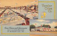 Michigan City IN Vernier Haviland China & Glassware~Linen Art Deco Postcard 1940