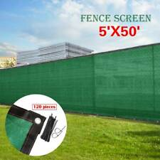 5' 6' 8' x 50' Green Fence Privacy Windscreen Cover Fabric Shade Mesh w/Zip Ties