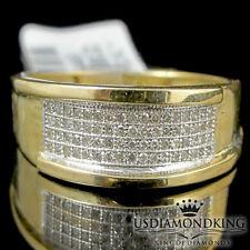 10k Yellow Gold Men's Pave Round Diamond 7mm Wedding Fashion Band Ring 0.20 ctw