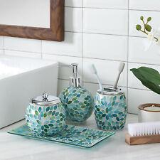 Bathroom Accessories Set, 4-Piece Glass Mosaic w Dispenser/Dish (Green/Blue)