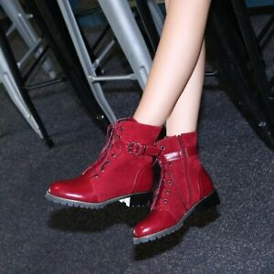 Womens Flats Buckle Strap Ankle Riding Boots Round Toe Lace Up Shoes Plus Size