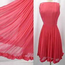 Vintage 60s Magenta Pink Chiffon Overlay Party Mini Dress (S) As-Is Needs Zipper