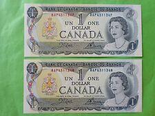 Canada 1 Dollar 1973 (PERFECT UNC) 2pcs Running Number BAP 4311347 - 8