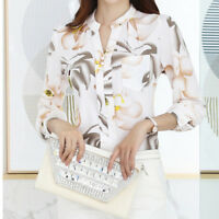 Women/Ladies' Casual Chiffon Shirt Floral Print Long Sleeve Blouse Tops