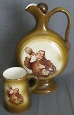 Antique Ceramic Burnhams Clam Bouillon Pitcher and Mug Columbian Belleek