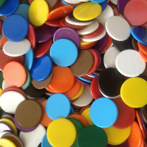 22mm Counters Pack of 50, 100 Multi Colours Choice Red Blue Green Yellow Purple