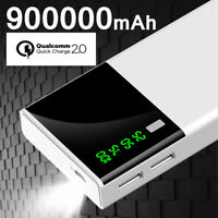 Portable 900000mAh LCD Power Bank External 2 USB Battery Charger For Cell Phone