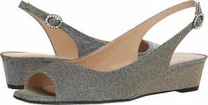 J.Renee Womens Alivia Fabric Peep Toe Casual Platform Sandals, Pewter, Size 6.0
