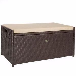 All Weather Rattan Pool Deck Box Storage Wicker Backyard Patio Outdoor w/ seat
