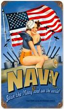 Vintage Pin Up Girl US Navy Metal Sign Man Cave Garage Shop Barn Decor pts065