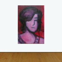 """Fauve Portrait in Pink signed Ainsworth Original oil painting 7"""" by 5"""""""