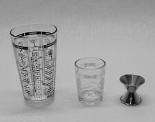3 pc Recipe Cocktail BAR SHAKER Set MIXING GLASS, MEASURING CUP & JIGGER KIT