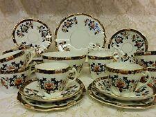 Victorian China Tea Set Gilt Black Fine China 8 Trios 31 Pieces Weddings Party