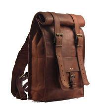 """22"""" Men's Leather Vintage Backpack Shoulder Bag Messenger Bag Rucksack Sling Bag"""