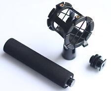 Camera Microphone Shockmount Holder Clip + Hot Shoe Mount + Foam Handle Grip