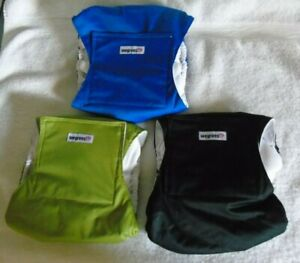 Wegreeco Male Dog Diapers Size Large Washable Blue Green Black 3 Pair