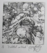 "LYNN KEATING AUSTRALIAN COLOUR INK ETCHING ""UNTITLED IN BLACK"" 1996 LTD ED"