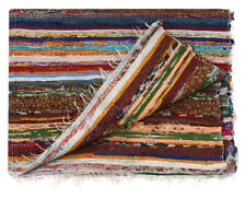 White Chindi Rag Rug Handmade Recycled Cotton Indian Hand woven Carpet 3X5 feet