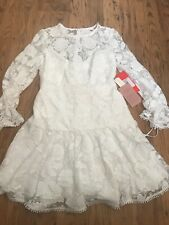 Anthropologie Floral Lace Embroidered White Cocktail Dress Size 12 NEW