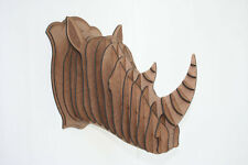 Large Wood Rhino Head Wall Trophy ***FREE U.S. Shipping Included***