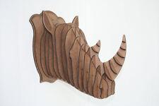 Small Wood Rhino Head Wall Trophy ***FREE U.S. Shipping Included***