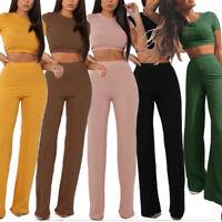 Femmes deux pièces côtelé O cou Top pantalon Long manches courtes survêtement WA
