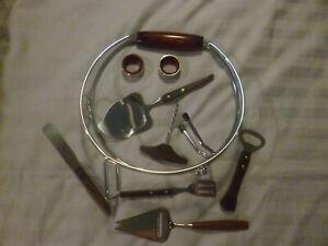 Vintage Kitchenalia - Wooden Handled Tools x 6 + Wine Pourer & 2 x Drip Collars