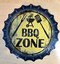 """""""BBQ ZONE"""" 12""""  METAL BOTTLE CAP SIGN-Baked Ink -Outdoor/Indoor   U34"""