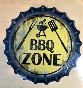"""BBQ ZONE"" 12""  METAL BOTTLE CAP SIGN-Baked Ink -Outdoor/Indoor   U34"