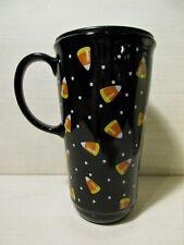 Longaberger Pottery Halloween~Fall Candy Corn 16 oz Travel Mug w/ Lid~Euc