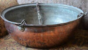 Antique Vintage Large Real Copper Hanging Basket Planter for Garden Patio