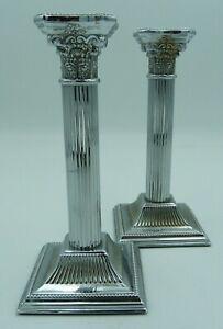 Modern Corinthian Column Candlesticks Neoclassical Georgian 20cms