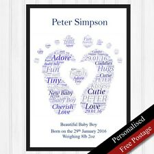 Newborn Baby Personalised Gifts. Print Keepsake Boy Foot Birth Gifts PRINT ONLY