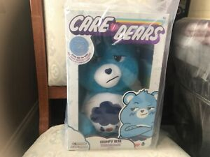 """CARE BEARS BLUE GRUMPY BEAR WITH SPECIAL COIN 14"""" PLUSH SOFT TOY NEW SEALED"""