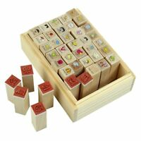 40pcs/set Happy Life Diary Girl Cute Cartoon Mounted Rubber Stamp Wooden Bo R2K7