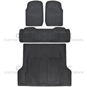 Max Duty Rubber Floor Mats for CAR SUV Truck w/ Cargo Liner 5 Piece Set Black