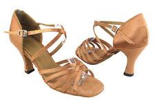 1613 Brown Satin Ballroom Salsa  Dance Shoes heel 3 Size 7.5